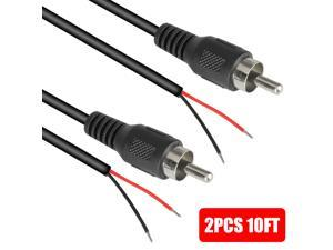 2x 10-ft RCA Male Shielded Audio Cable to Bare Wire for HDTV Speaker Subwoofer