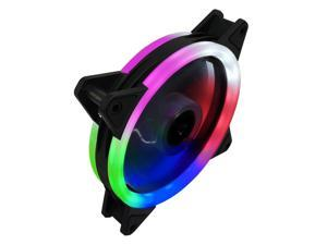 Coolmoon SGQ RGB LED Case Cooling Fan 120mm DC 12V Cooling Small 3Pin and Big 4Pin Cooler Silent Quiet Fan Cooler Radiator For Computer Case Fan,5 Color High Brightness Dual Interface