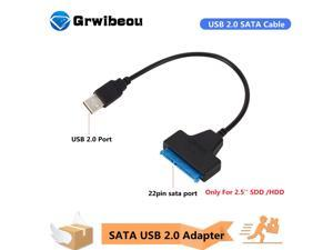 Grwibeou USB SATA Cable SATA To USB 2.0 Adapter Cables Connectors USB Sata Adapter Cable Support 2.5 Inches Ssd Hdd Hard Cable