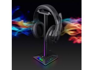 Gaming Headset Stand RGB Headset Desktop Stand, Multi-USB Port 3.5mm Headset Hanger, Universal In-ear Headset Display Stand