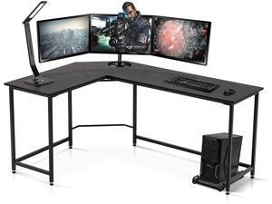Ivinta Computer Desk Gaming Desk L Shaped Desk Office Desk Corner Desk Modern Writing Desk Executive Desk PC Gaming Desk Study Desk for Small Space (Black)