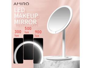 AMIRO HD LED Mirror Dimmable Adjustable Countertop 60 Degree Rotating 2000mAh Daylight Cosmetic Makeup Led Mirror For Lover Gift