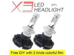2pcs H7 X3 50W 6000LM 6500K LED Car Headlight Kit Automobile Fog Lamp Hi or Lo Light Bulbs  with 3 Kinds Colorful Film