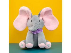 30cm Disney Kawaii Plush Doll Toy Soft Big Ear Elephant Plushie Toy Doll Smart Electric Animal Can Sing Toys For Baby Kid Gifts (Elephant/Pink)