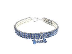 Bling Rhinestone Dog Necklace Collar Diamante&Bone Pendant Crystal For Pet Kitty Blue - Blue