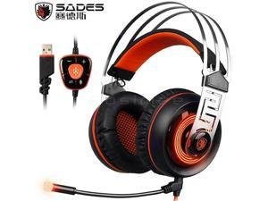SADES A7 7.1 Surround Sound Gaming Wired Headset USB Luminous Headphone with Microphone - Orange with vibration