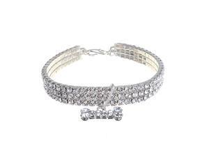 Bling Rhinestone Dog Necklace Collar Diamante&Bone Pendant Crystal For Pet Kitty White - White