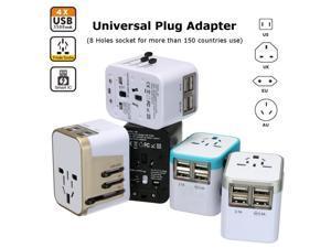 All in One Universal International Plug Adapter 4USB Ports World Travel AC Power Charger US UK AU EU - White