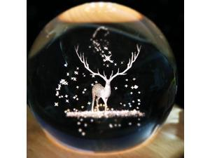 Moon Lights Tanabata Valentine's Day Rotating 3d Birthday Gift Carousel Crystal Ball Music Box - Moose charging sky city with music cassette