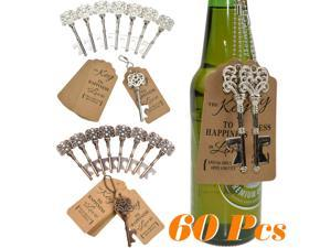 60Pcs Heavy-Duty Metal Skeleton Key Bottle Opener Wedding Favor Gold Ribbon and Stickers Gift - Silver