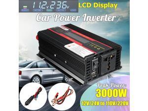 Car Inverter 12V-220V 3000W Power Inverter Voltage Convertor Transformer 12V/24V To 110V/220V Inversor + LCD Display - 12V-220V universal plug