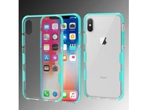 For  iPhone X/XS Clear Green Bumper Skin Case Cover