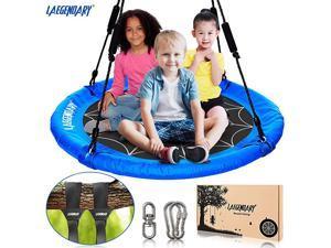 Inch Flying Saucer Tree Swing for Kids Round Indoor Outdoor Swingset Toys 700 Lbs Sensory Web Tire Swings Durable Frame Waterproof Yard Swings Set 2 Tree Straps 2 Carabiners 1 Swivel