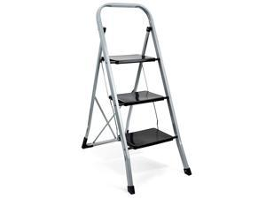 3 Step Ladder Folding Step Stool with Handgrip Lightweight Step Stool ladders with AntiSlip Sturdy and Wide Pedal MultiUse for Household and Office Portable Step Stool Steel 300lbs 3 Step