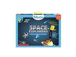 Educational Game Space Explorers 69 Years | Erasable and Reusable Activity Mats with 2 Dry Erase Markers | Learning Tools for Boys and Girls 6 7 8 9 Years