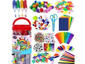 Arts and Crafts Supplies for Kids Craft Art Supply Kit for Toddlers Age 4 5 6 7 8 9 All in One DIY Crafting Collage Arts Set for Kids