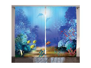 Underwater Curtains Underwater Coral Reef Polyps Algae Dolphins and Goldfishes Bubbles in Deep Ocean Print Living Room Bedroom Window Drapes 2 Panel Set 108quot X 63quot Blue Yellow