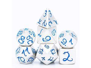 Metal Dice with Metal Box 7 PCs DND Dice Polyhedral Dice Set with Dragon Font for Role Playing Game Dungeons and Dragons DampD Dice MTG Pathfinder Math Teaching Silver with Blue Numbers