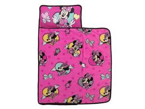 Minnie Mouse Toddler Nap Mat with Attached Pillow and Blanket Pink Aqua Yellow