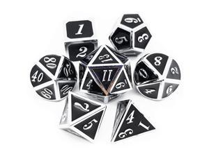 7PCS Metal Dice Set Silver Black DampD Dice for Dungeons and Dragons GamesSilver Black