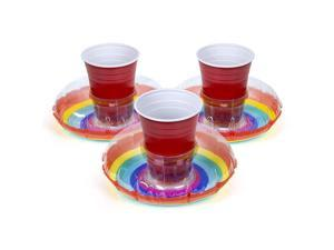 Inflatable Pool Drink Holders 3 Pack Designed in the US | Huge Selection from Unicorn Flamingo Palm and More | Float Your Hot Tub Drinks In Style Rainbow