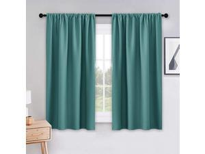 Blackout Window Curtains 42 inch Wide by 45 in Long Sea Teal Drapes Rod Pocket Thermal Panels Solid Soft Short Curtain Shades Light Block for KitchenBathroomBedroom 2 PCs