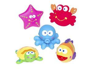 Bath Time Fun Rubber Water Squirtie Toys in Vinyl Giftable Bag Octopus Crab Sea Squirt Toys