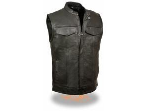 Men's Basic Leather Motorcycle Vest w/ 2 Inside Gun Pockets Collared & No Collar versions