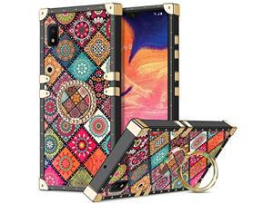 For Galaxy A10e Case, Kickstand Ring Holder Luxury Unique Design For Women Girls Square Edges Protective Soft Slim Shockproof Tpu Shell Cover For Samsung Galaxy A10e Mandala