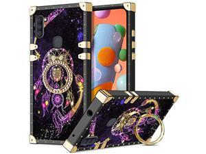 For Galaxy A11 Case With Kickstand Ring Holder Luxury Unique Design For Women Girls Square Edges Protective Soft Slim Shockproof Tpu Shell Cover For Samsung Galaxy A11 Owl 2020 Version