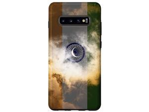 Galaxy S10+ India Flag Cloudy Sky With Crescent Moon - Indian Pride Case