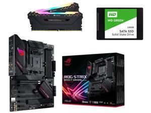 "ASUS ROG Strix B550-F Gaming (WiFi 6) AMD AM4 (3rd Gen Ryzen) ATX Gaming Motherboard + CORSAIR Vengeance RGB Pro 32GB (2 x 16GB) 288-Pin DDR4 SDRAM DDR4 3600 Memory + WD Green 120GB 2.5"" Internal SSD"