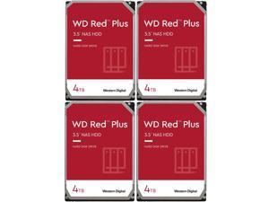"4x WD Red Plus 4TB NAS Hard Drive 5400 RPM SATA 6Gb/s CMR 64MB Cache 3.5"" Internal HDD WD40EFRX"