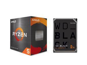 """AMD Ryzen 5 5600X 3.7 GHz Socket AM4 100-100000065BOX Desktop Processor + WD Black 2TB Performance Desktop Hard Drive 7200 RPM SATA 6Gb/s 64MB Cache 3.5"""" Internal HDD WD2003FZEX"""
