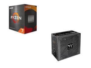 AMD Ryzen 7 5800X 8-Core 3.8 GHz Socket AM4 105W 100-100000063WOF Desktop Processor + Thermaltake Smart BM2 750W 80+ Bronze Intel Skylake's C6/C7 States & ErP Ready 140mm Quiet Fan Japanese Capacitor Semi Modular Power Supply