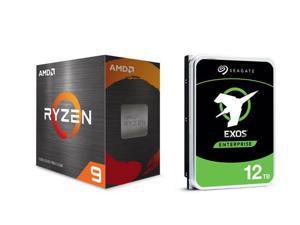 "AMD Ryzen 9 5900X 3.7 GHz Socket AM4 100-100000061WOF Desktop Processor + Seagate 12TB Exos Enterprise Hard Drive X16 7200 RPM SATA 6Gb/s 256MB Cache 3.5"" Internal HDD ST12000NM001G"