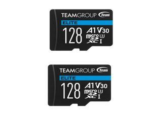 2 x Team 128GB Elite microSDXC UHS-I U3, V30, A1, 4K UHD Memory Card with SD Adapter, Speed Up to 90MB/s (TEAUSDX128GIV30A103)