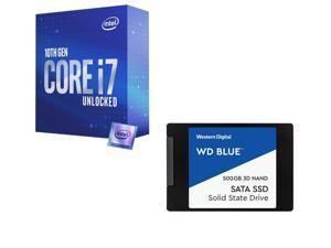 """Intel Core i7-10700K Comet Lake 8-Core 3.8 GHz LGA 1200 125W Desktop Processor w/ Intel UHD Graphics 630 + WD Blue 3D NAND 500GB Internal SSD - SATA III 6Gb/s 2.5""""/7mm Solid State Drive - WDS500G2B0A"""