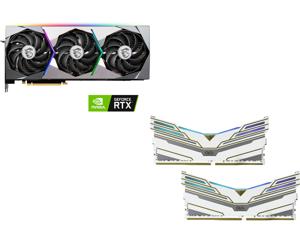 MSI GeForce RTX 3080 SUPRIM X 10GB, OLOy WarHawk RGB 16GB (2 x 8GB) DDR4 4000 (PC4 32000) Desktop Memory Model