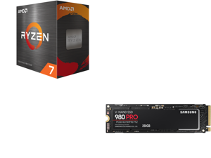 AMD Ryzen 7 5800X 8-Core 3.8 GHz Socket AM4 105W 100-100000063WOF Desktop Processor and SAMSUNG 980 PRO M.2 2280 250GB PCI-Express 4.0 x4 NVMe 1.3c Samsung V-NAND Internal Solid State Drive (SSD) MZ-V8P250B/AM
