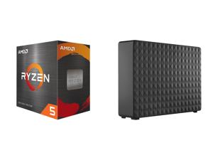 AMD Ryzen 5 5600X 6-Core 3.7 GHz Socket AM4 65W (100-100000065BOX) Desktop Processor + Seagate Expansion 8TB External Desktop Hard Drive PC Windows PS4 Xbox USB 2.0 3.0 Black (STEB8000100)