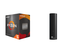 AMD Ryzen 5 5600X 6-Core 3.7 GHz Socket AM4 65W (100-100000065BOX) Desktop Processor + WD Elements 10TB USB 3.0 Desktop Hard Drive Black (WDBWLG0100HBK-NESN)