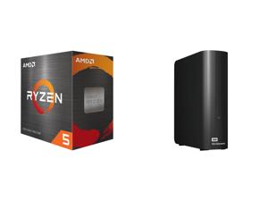 AMD Ryzen 5 5600X 6-Core 3.7 GHz Socket AM4 65W (100-100000065BOX) Desktop Processor + WD Elements 12TB USB 3.0 External Desktop Hard Drive Black (WDBWLG0120HBK-NESN)