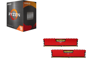 AMD Ryzen 9 5950X 16-Core 3.4 GHz Socket AM4 105W 100-100000059WOF Desktop Processor and CORSAIR Vengeance LPX 32GB (2 x 16GB) 288-Pin DDR4 SDRAM DDR4 3600 (PC4 28800) Desktop Memory Model CMK32GX4M2D3600C18R