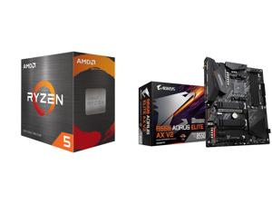 AMD Ryzen 5 5600X 6-Core 3.7 GHz Socket AM4 65W 100-100000065BOX Desktop Processor and GIGABYTE B550 AORUS ELITE AX V2 AM4 AMD B550 ATX Motherboard with Dual M.2 SATA 6Gb/s USB 3.2 Gen 2 2.4/5 GHz Dual-Band 2.5 GbE LAN PCIe 4.0