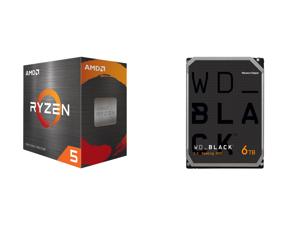AMD Ryzen 5 5600X 6-Core 3.7 GHz Socket AM4 65W 100-100000065BOX Desktop Processor and WD Black 6TB Performance Desktop Hard Disk Drive - 7200 RPM SATA 6Gb/s 256MB Cache 3.5 Inch - WD6003FZBX