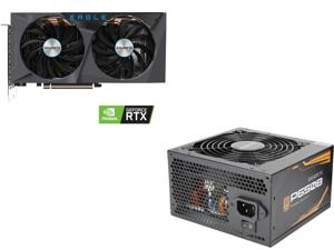 GIGABYTE GeForce RTX 3060 Ti DirectX 12 GV-N306TEAGLE-8GD 8GB 256-Bit GDDR6 PCI Express 4.0 x16 ATX Video Card and GIGABYTE P650B GP-P650B 650W Intel Form Factor ATX 12V v2.31 80 PLUS BRONZE Certified Non-Modular Active PFC (>0.9 typical) P