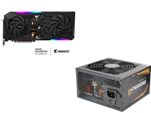 GIGABYTE AORUS Radeon RX 6800 XT MASTER TYPE C 16G Graphics Card 16GB GDDR6 Memory Powered by AMD RDNA 2 HDMI 2.1 USB Type-C MAX-COVERED Cooling GV-R68XTAORUS M-16GC and GIGABYTE P650B GP-P650B 650W Intel Form Factor ATX 12V v2.31 80 PLUS B