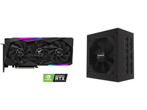 GIGABYTE AORUS GeForce RTX 3070 DirectX 12 GV-N3070AORUS M-8GD 8GB 256-Bit GDDR6 PCI Express 4.0 x16 ATX Video Card and GIGABYTE P750GM 750W ATX 12V v2.31 80 PLUS GOLD Certified Full Modular Active PFC Power Supply
