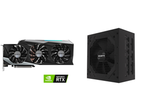 GIGABYTE GeForce RTX 3090 DirectX 12 GV-N3090GAMING OC-24GD 24GB 384-Bit GDDR6X PCI Express 4.0 x16 SLI Support ATX Video Card and GIGABYTE GP-P850GM 850W ATX 12V v2.31 80 PLUS GOLD Certified Full Modular Active (>0.9 typical) PFC Power Sup